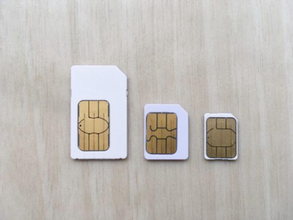 標準SIM、microSIM、nanoSIM